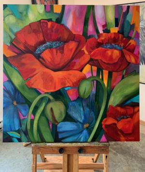 Poppies with Blue