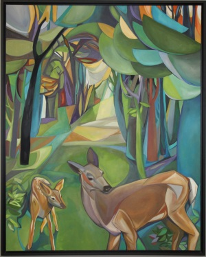Deer and Fawn Enter the Forest