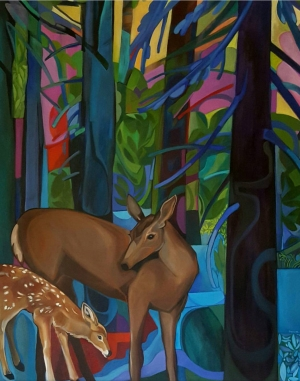 Deer and Baby in Blues
