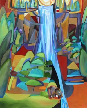 Waterfall and Bear